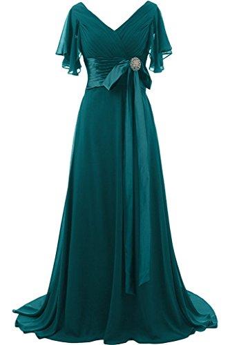 ivyd ressing préférée courte col en V manches longue femme Nœud avec pierres Prom robe Lave-vaisselle robe robe du soir Blaugruen