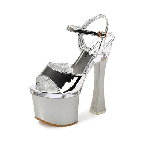Corazón De La Mujer & M Charol De Verano 17.5 Cm Suela De Goma Gruesa Super High Heels Sandalia Peep-toe Plata