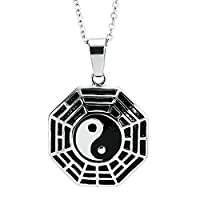 AnaZoz Fashion Jewelry Stainless Steel Pendant Necklace Yin Yang Hexagram Silver Pendant Necklace for Men,Size 2.6x2.6CM Color Silver