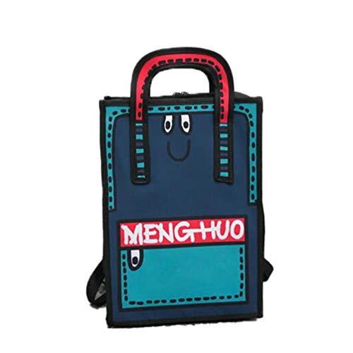 Women Backpack 3D Jump Style 2D Drawing Cartoon Comic Backpack Dual-Use Backpack Tote Student Bag Mochila Bag Blue 578 29Lx9Wx39Hcm - Tote Sattel
