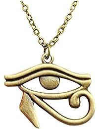 Fashion 3colores oro antiguo, Bronce Antiguo, Plata envejecida el ojo de Horus colgante, collar de cadena larga 70cm