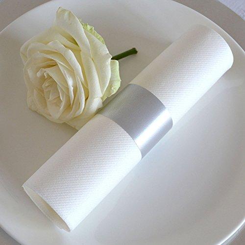 k Servietten Weiss Gerollt mit Band Silber Grau - Hochzeitsservietten Premium stoffähnlich fertig Dekoriert mit Serviettenring aus Dekoband/Tischdekoration für Hochzeit Geburtstag ()