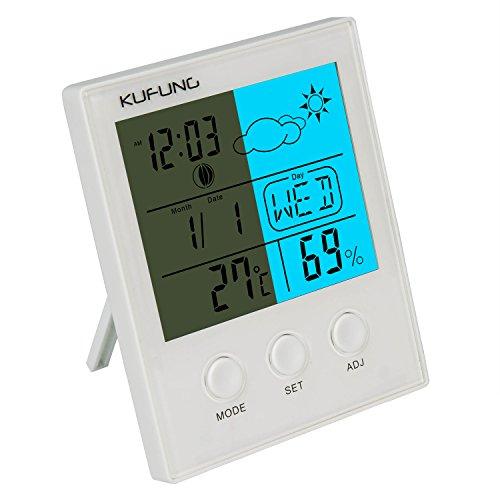 KUFUNG Luftfeuchtigkeit Innen Hygrometer digital Thermometer, Monitor Sensor mit großen LED Display Zeigt Temperatur, Datum, Wetter, Feuchtigkeit & Alarm -