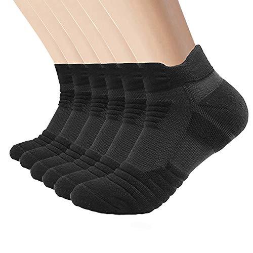 SUNWIND Sneaker Socken Herren Damen 6 Paar Gepolsterte Sportsocken 35-50 Baumwolle Kurze Atmungsaktiv Hohe Leistung Anti-Rutsch Laufsocken (Schwarz, 39-42) -