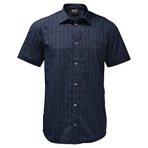 Jack Wolfskin Herren Strahlen der Stretch Vent Shirt Small Night Blue Checks (Blue Check Shirt Button Down)
