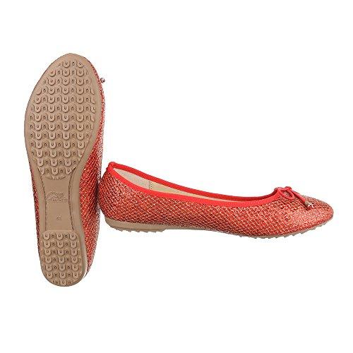 Ballerine Classiche Ital-design Scarpe Da Donna Chiuse Ballerine Moderne Corallo Rosso Dm6d-18