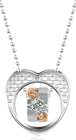 Women Rectangle CZ,Love Heart Pattern Rings Stainless Steel Pendant Necklace Aooaz Jewelry