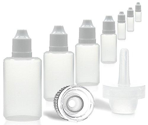 10 x 120 ml Liquidflaschen mit Tropf-Verschluss [PE, transparent; Deckel mit Kindersicherung], Tropfflaschen, Plastikflaschen, Kunststoffflaschen, Dosierflaschen, z.B für E-Zigaretten, Farben, Ölen -