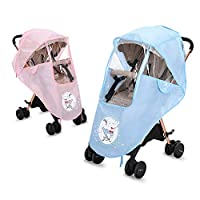 MEIYA Universal Baby Carriage Rain Cover,Stroller Rain Cover with Zip Large Window Opening Waterproof Rain Cover Transparent Wind Dust Shield for Baby Strollers Pushchairs Raincoat,Elephant