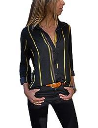 63184efde7cc2 FIYOTE Chemisier Femme Manches Longues Shirt Rayures Verticales Col en V Top  Multicolore S-XXL