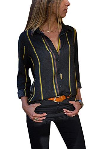 FIYOTE Damen Blusen V-Ausschnitt Streifen Langarmshirts Blusen Kariertes Hemd Oberteile Gelb L