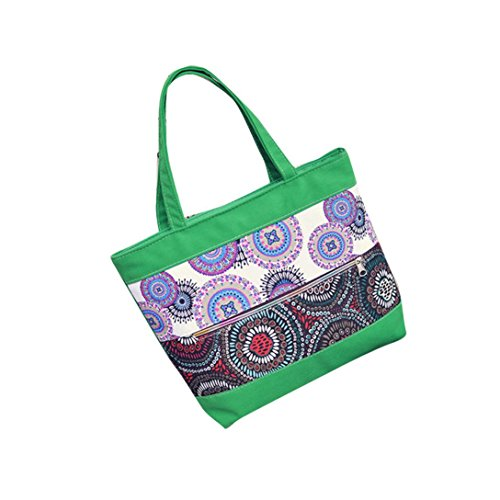 Transer Women Shopping Bag Popular Girls Hand Bags Ladies Canvas Handbag, Borsa a spalla donna Blue 32cm(L)*33(H)*9cm(W) Green