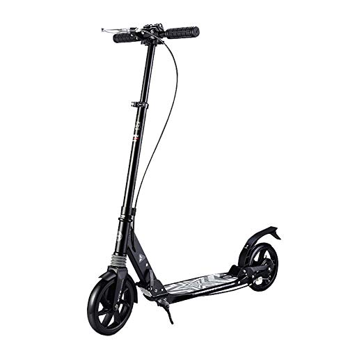 MOM Outdoor Sports Scooter Kick, Scooter für Teens, Verstellbare Faltbare Big Wheels Hinterradfender Bremse, Aluminiumlegierung Scooter Kinderspielzeug Balance Car Mini,Schwarz