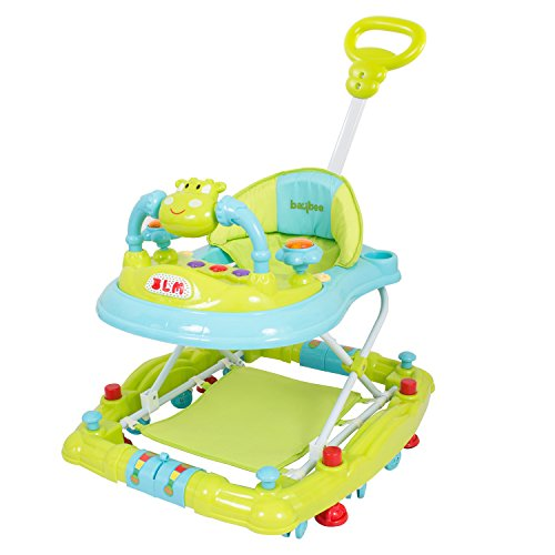 Baybee Forza Baby Walker Cum Rocker | Music & Light Function with Control Push Bar, Stopper, Easy to Fold, Fun Toys & Activities for Baby (Green)