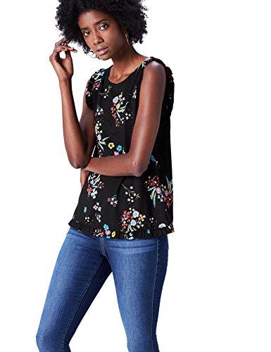 FIND Blusa sin Magas con Remate de Volante para Mujer , Multicolor (Black Mix), 48 (Talla del Fabricante: XXX-Large)