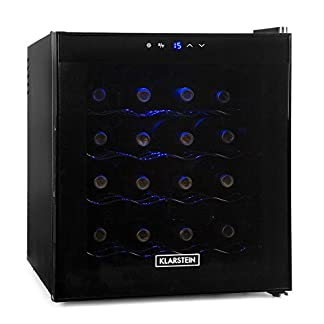 Klarstein-Weinkhlschrank-Getrnkekhlschrank-48-Liter-16-Flaschen-4-Regaleinschbe-niedriges-Betriebsgerusch-Temperaturbereich-08-18-C-Innenraumbeleuchtung-schwarz