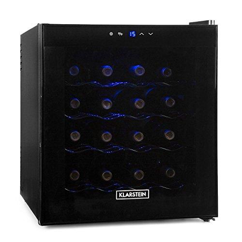 Klarstein Weinkühlschrank - Getränkekühlschrank, 48 Liter, 16 Flaschen, 4 Regaleinschübe, niedriges Betriebsgeräusch, Temperaturbereich: 08° - 18° C, Innenraumbeleuchtung, schwarz