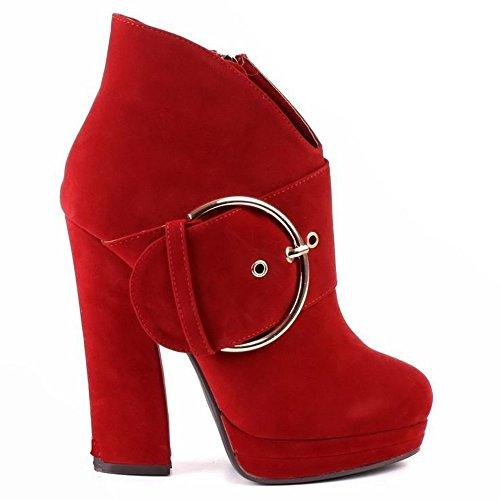 stivaletti stivali donna ankle boot 4 colori tg 35;36;37;38;39;40 (38 ITALIANA, ROSSO)
