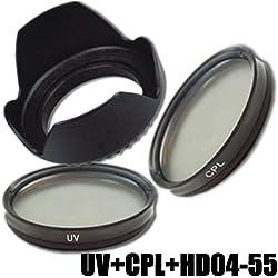 Kit de Filtre DynaSun Lens 55mm UV Ultra Violet +CPL Polarisant Circulaire C-PL + Pare-Soleil 55 mm