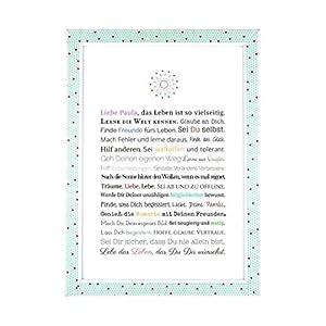 Geschenk zur Firmung, Erstkommunion, Jugendweihe, Kommunion u. Konfirmation | Personalisierbares Bild für Mädchen