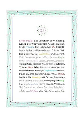 Geschenk zur Firmung, Erstkommunion, Jugendweihe, Kommunion u. Konfirmation | Personalisierbares Bild für Mädchen, Kunstdruck