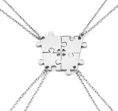 Kinder 4 Lieben-familie Halskette (Hanessa Damen-Schmuck 4-Partner-Ketten silberne Hals-Ketten Puzzle-Anhänger Zinklegierung in Silber für vier Freundinnen / Freundin / Frauen / Schwester / Schwestern / Mädchen)