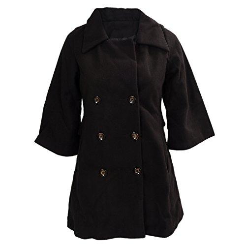 Mantel - TOOGOO(R)Damen Schlank Asymmetrisch Schoesschen Saum Revers Mantel schwarz XXL