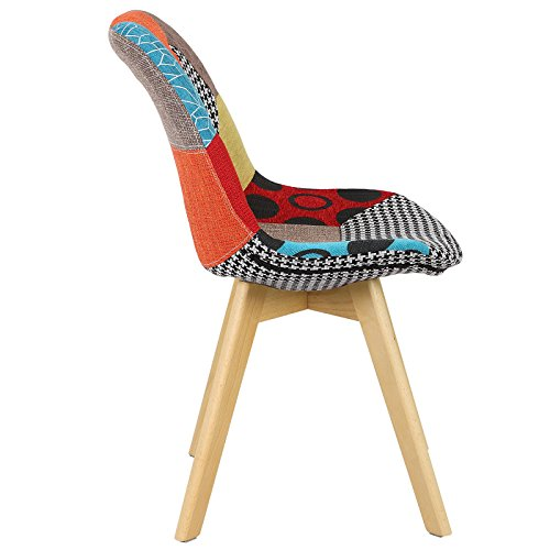 41rNRlXV1lL. SS500  - WOLTU® BH29mf-1 1 x Dining Chair Retro Kitchen Chair Patchwork Linen Dining Chair, Multicolored
