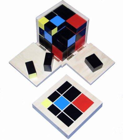 Trinomischer Würfel, Trinomischer Kubus - Montessori-Material zum Lernen der 3 Dimensionen