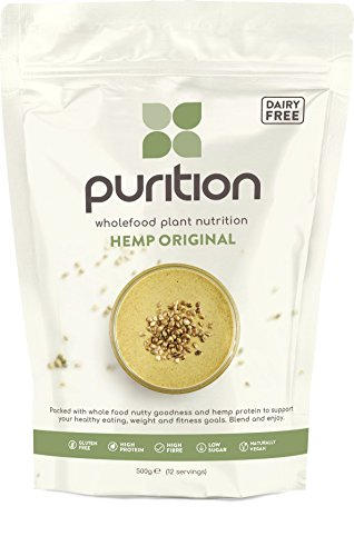 Purition Raw Vegan Hemp Dairy-Free High Protein Meal Replacement Shake or Smoothie | Healthy Omega Fats and Fibre from All Natural Energy-Rich Wholefoods | Ideal for Weight Loss and Post Workout Recovery | 500 grams for 12 Servings