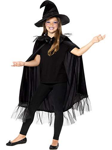 Fancy Ole - Mädchen Girl Kinder Hexen Whitch Zauberin Kostüm Set Kit, Gewand Mantel und Hut, perfekt für Halloween Karneval und Fasching, 104-140, - Whitch Kostüm