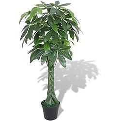 vidaXL Künstliche Glückskastanie mit Topf Kunstpflanze Dekopflanze 145 cm Grün