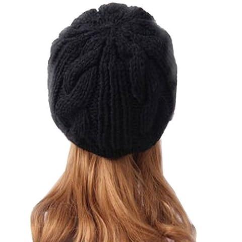 Beret Femme Noir - Femme Hiver Chapeau Fille Tricoté Bonnet/ Béret