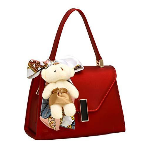 tasche einfarbig jelly bag fashion umhängetasche straight lock bag square bag wickeltasche simple ladies bag (Rot,18cm*8cm*13cm) ()