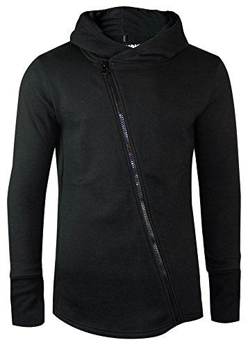 trueprodigy Casual Herren Marken Sweatjacke einfarbig Basic, Oberteil cool und stylisch mit Kapuze (Langarm & Slim Fit), Hoodie für Männer in Farbe: Schwarz 2563101-2999 Black