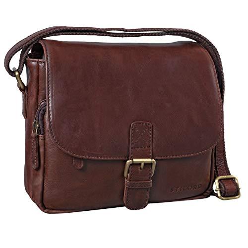 STILORD 'Lucian' Vintage Umhängetasche Leder klein für Herren und Damen Schultertasche für 10.1 Zoll Tablet iPad DIN A5 Handtasche aus echtem Leder, Farbe:schokoladen - braun -