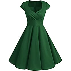 Bbonlinedress Vestido Corto Mujer Retro Años 50 Vintage Escote En Pico Green 3XL