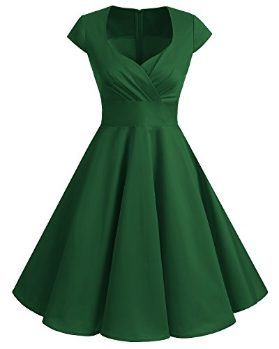 bbonlinedress 1950er Vintage Retro Cocktailkleid Rockabilly V-Ausschnitt Faltenrock Green XL