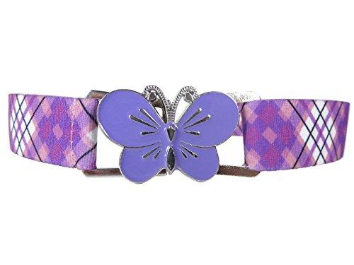 Olata Elastischer Gürtel für Mädchen 1-11 Jahre, voll einstellbar mit große Schnalle - Tartan Lila/Schmetterling Lila