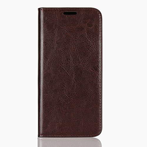 Sunrive Für Motorola Moto G6 Play/E5, Echt-Ledertasche Schutzhülle Hülle Standfunktion Flip Lederhülle Case Handyhülle Schalen Kreditkarte Handy Tasche(braun)