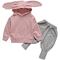 Looks Pink Blue Clothes Newborn Infant Baby Baby Girl Set Sudadera con Capucha Tops + Pantalones Outfits Ear Decor for 1-7 Years Old