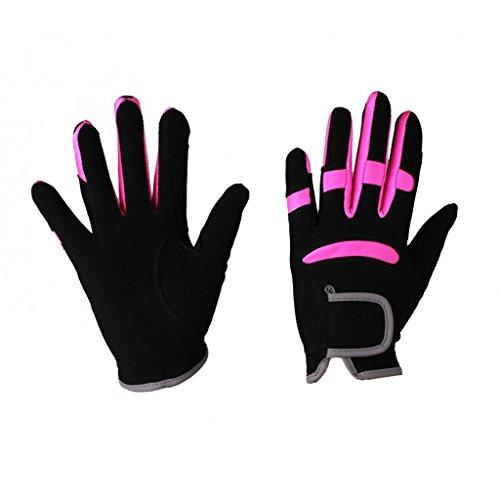 QHP Kinder Reithandschuhe Multi Color schwarz-pink (Junior 2)