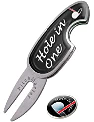 HOLE IN ONE PITCHMASTER GOLF DIVOT TOOL. PITCHMARK REPAIRER