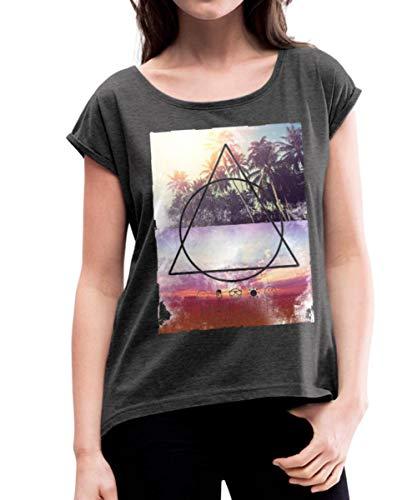 Spreadshirt SmileyWorld Miami Beach Palmen Frauen T-Shirt mit gerollten Ärmeln, M (38), Schwarz meliert