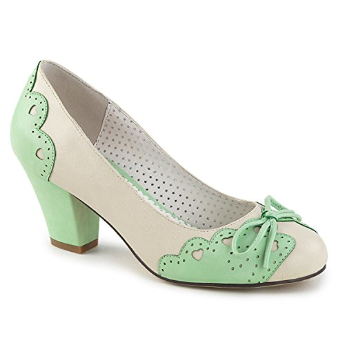 Pin up Couture WIGGLE-17 Cream-Mint Faux Leather UK 7 (EU 40) -