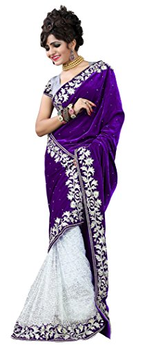 Clickedia Women's Stylish Purple and white Half and Half Embroidered Pure Velvet and brasso saree with blouse piece  available at amazon for Rs.299