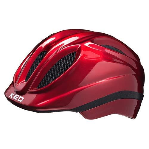 KED Fahrradhelm Meggy II - Kinder- und Jugendhelm in robuster maxSHELL-Technologie und QUICKSAFE-Blinkleuchten - (M (Kopfumfang 52-58 cm), Red)