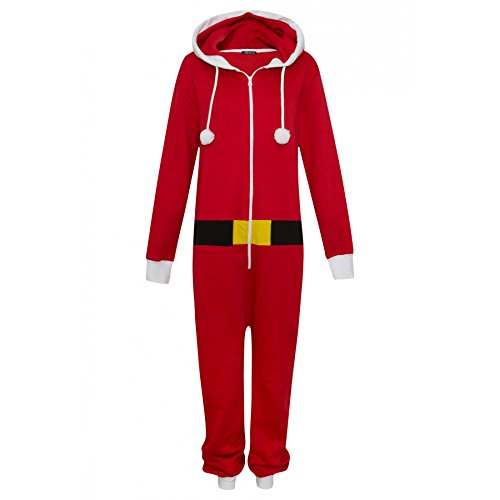 Tuta intera unisex da elfo o da Babbo Natale, costume per travestimento, taglie: dalla S alla XXXXL