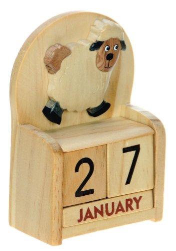 Schaf : Ewiger Kalender : handgefertigte Holz: Größe 10.5x7x3.5cm : Top- Weihnachtsgeschenk- Idee: Traditionelles Weihnachtsgeschenk für Kinder, Jungen, Mädchen, Ihn, Sie & Liebend Spaß Erwachsene! : 50+ Garten-Vogel , Tier & Transport Designs