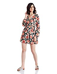 Forever 21 Womens A-Line Dress (00221452024_0022145202_ BLACK/CORAL_4)